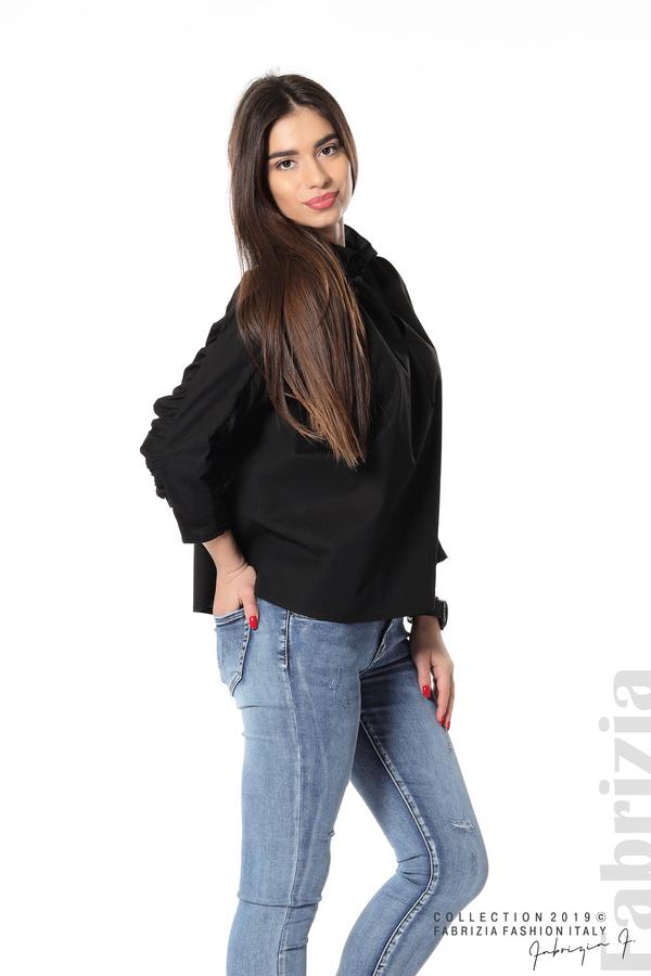 Широка риза с набори на ръкавите черен 5 fabrizia