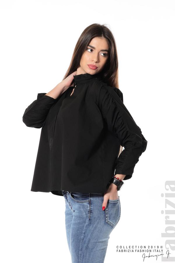Широка риза с набори на ръкавите черен 1 fabrizia