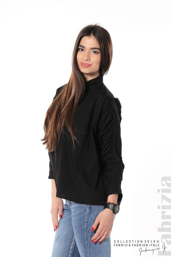Широка риза с набори на ръкавите черен 4 fabrizia