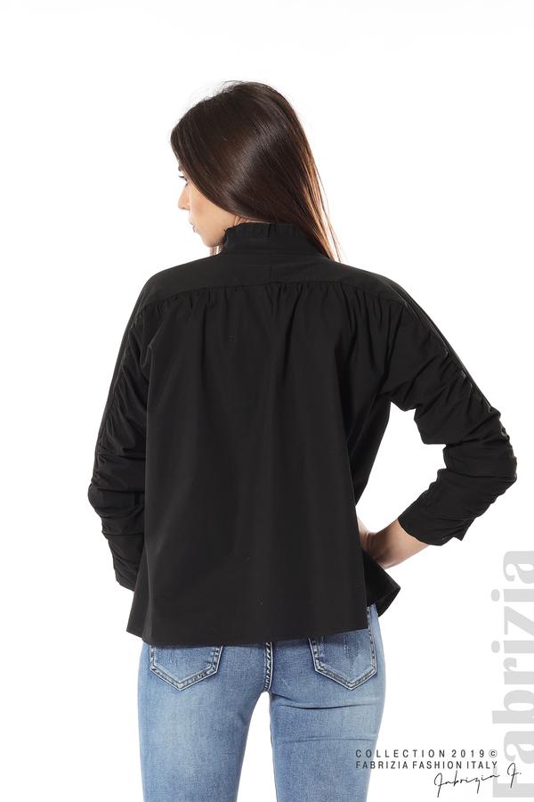 Широка риза с набори на ръкавите черен 6 fabrizia