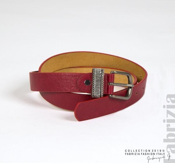 Дамски колан с камъчета на гайката червен 1 fabrizia