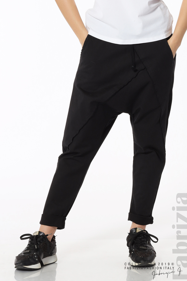 Дамски панталон с паднало дъно черен 3 fabrizia