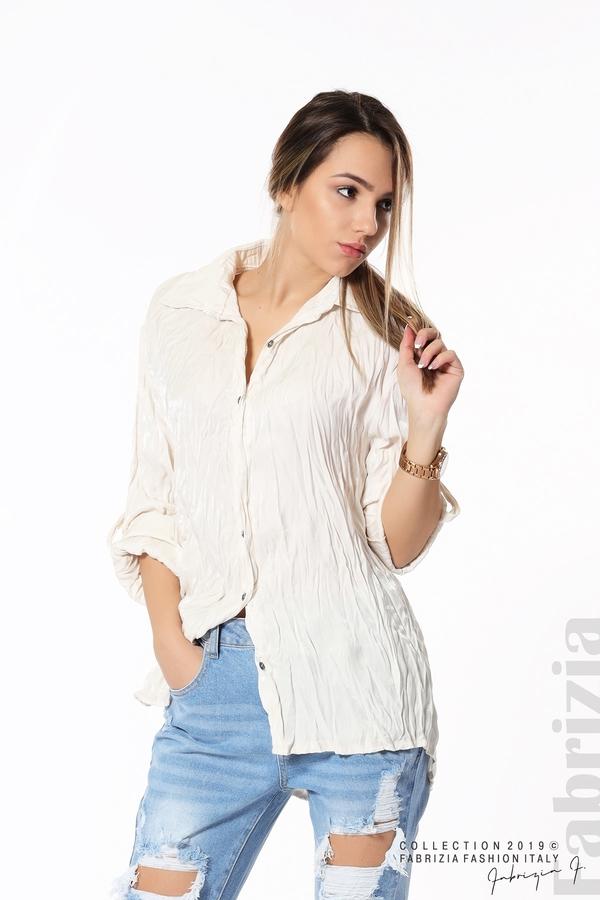 Дамска риза с намачкан ефект екрю 1 fabrizia