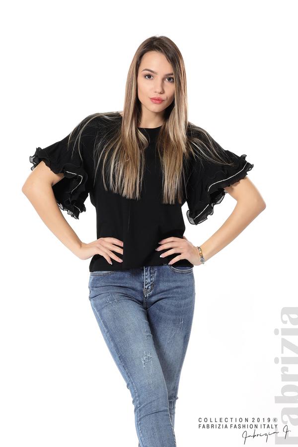 Дамска блуза с ефектни ръкави черен 2 fabrizia