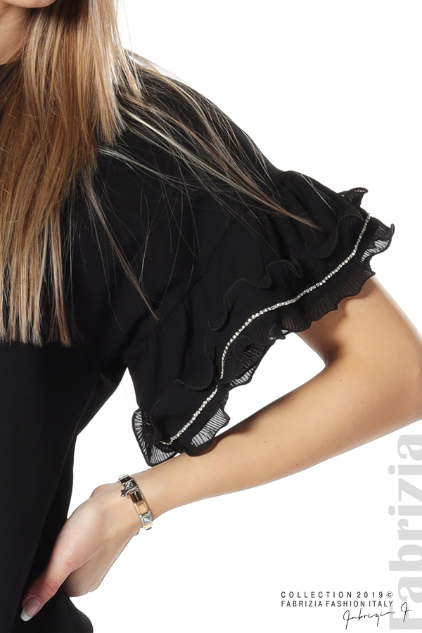 Дамска блуза с ефектни ръкави черен 3 fabrizia