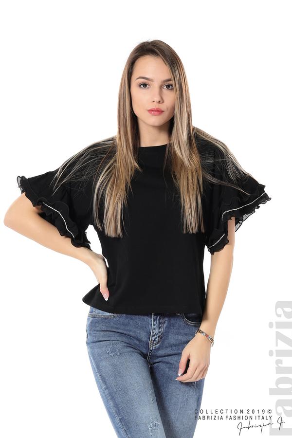 Дамска блуза с ефектни ръкави черен 5 fabrizia
