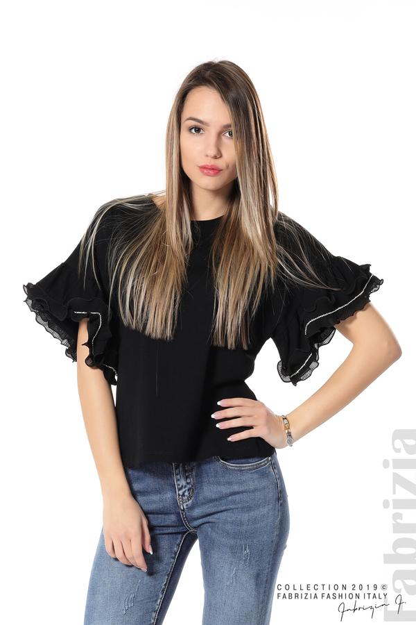 Дамска блуза с ефектни ръкави черен 1 fabrizia