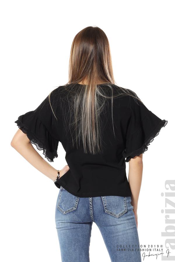 Дамска блуза с ефектни ръкави черен 6 fabrizia