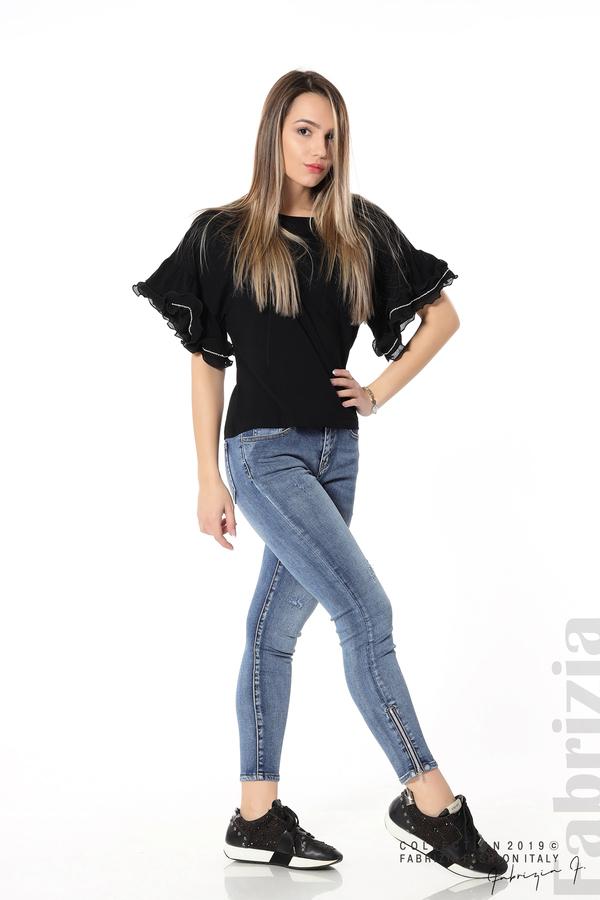 Дамска блуза с ефектни ръкави черен 4 fabrizia