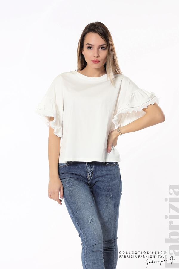 Дамска блуза с ефектни ръкави бял 3 fabrizia