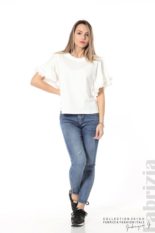 Дамска блуза с ефектни ръкави бял 2 fabrizia