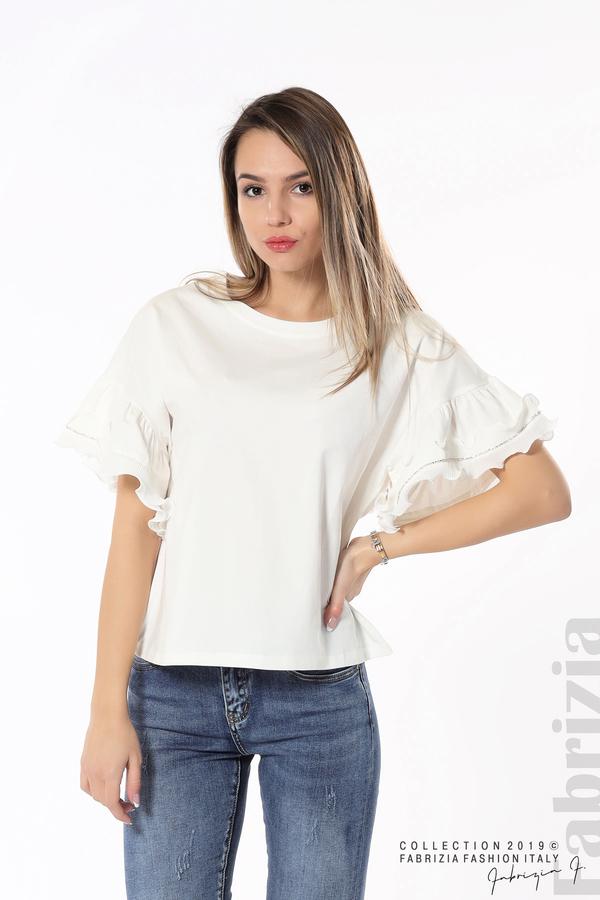 Дамска блуза с ефектни ръкави бял 1 fabrizia