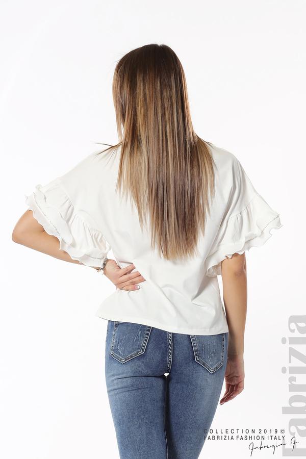 Дамска блуза с ефектни ръкави бял 6 fabrizia