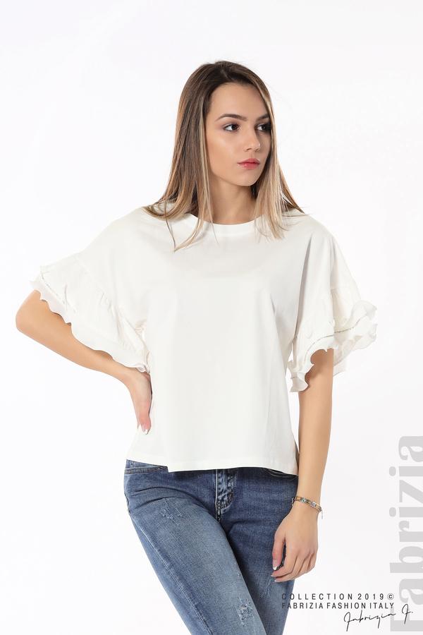 Дамска блуза с ефектни ръкави бял 5 fabrizia