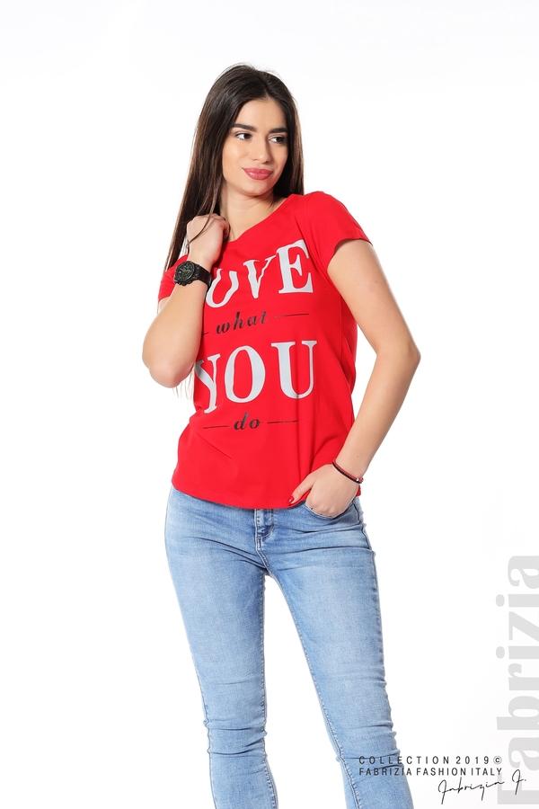 Блуза с надпис Love what you do червен 4 fabrizia