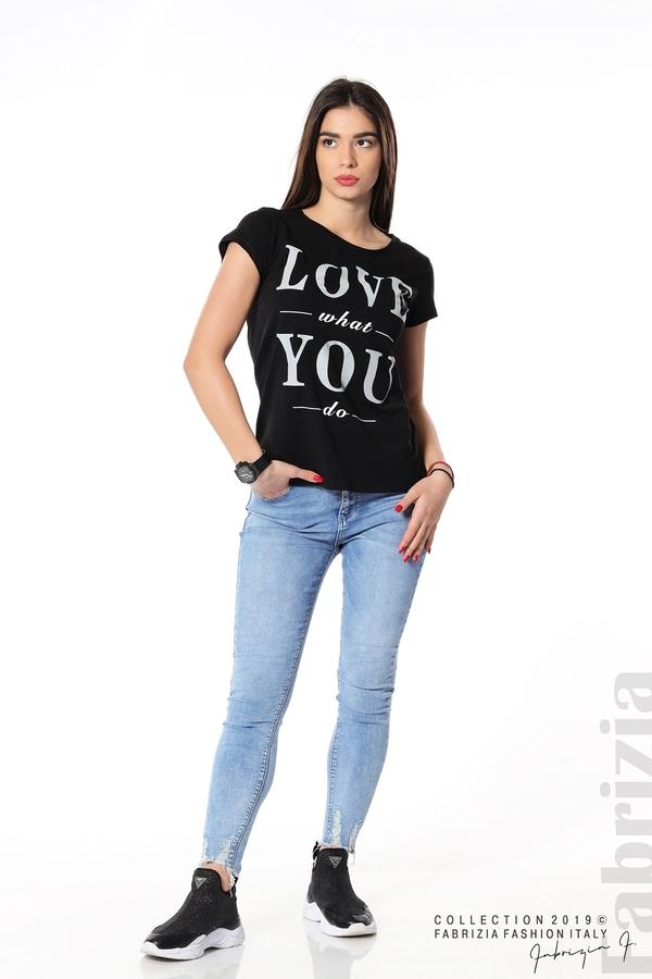 Блуза с надпис Love what you do черен 3 fabrizia