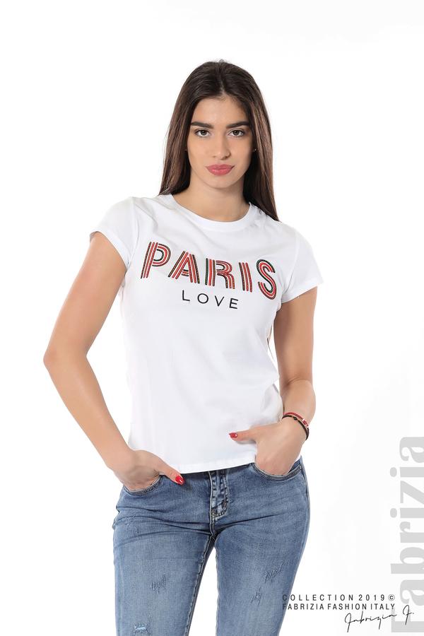 Дамска блуза с надпис Paris бял 1 fabrizia