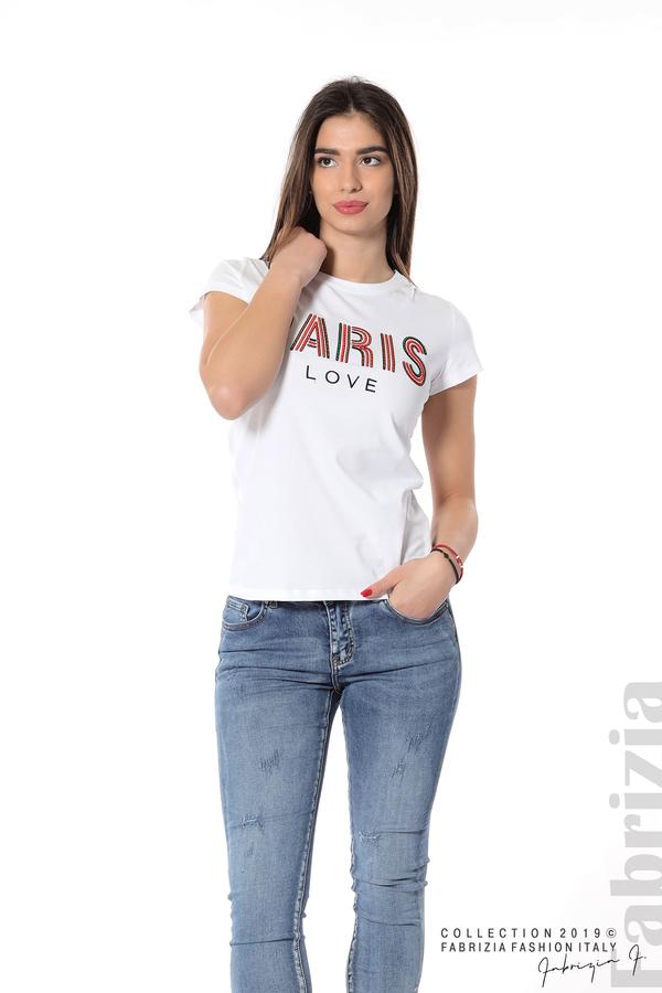 Дамска блуза с надпис Paris бял 4 fabrizia