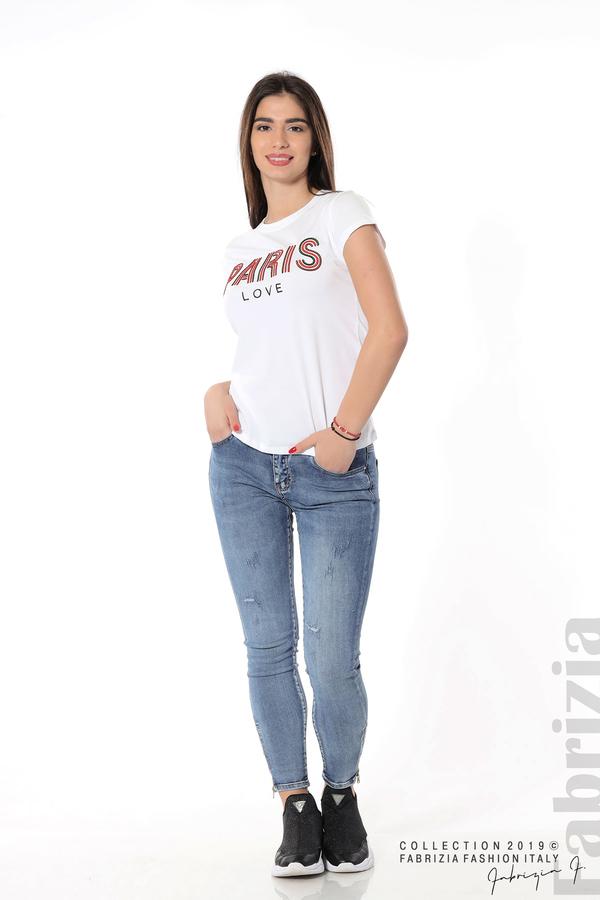 Дамска блуза с надпис Paris бял 3 fabrizia