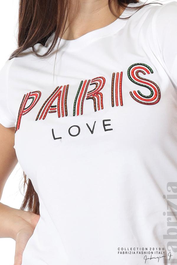 Дамска блуза с надпис Paris бял 5 fabrizia
