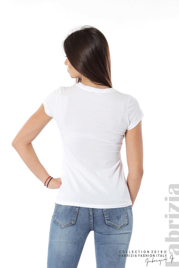 Дамска блуза с надпис Paris бял 6 fabrizia