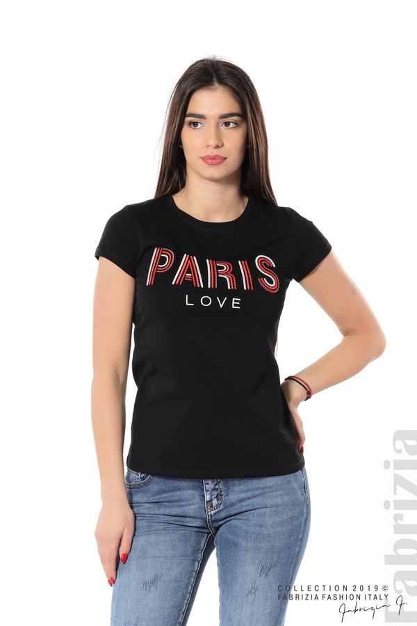 Дамска блуза с надпис Paris черен 1 fabrizia