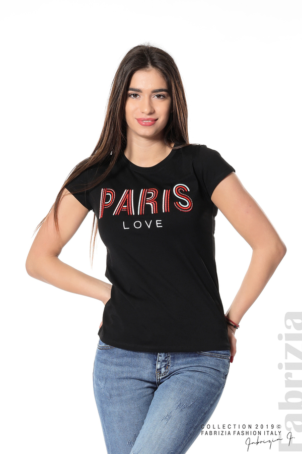 Дамска блуза с надпис Paris черен 4 fabrizia