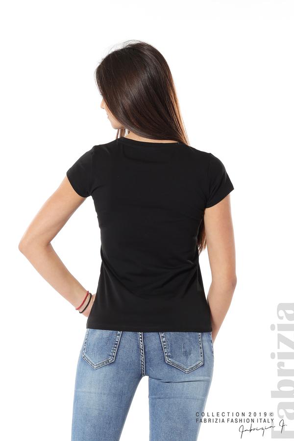 Дамска блуза с надпис Paris черен 6 fabrizia