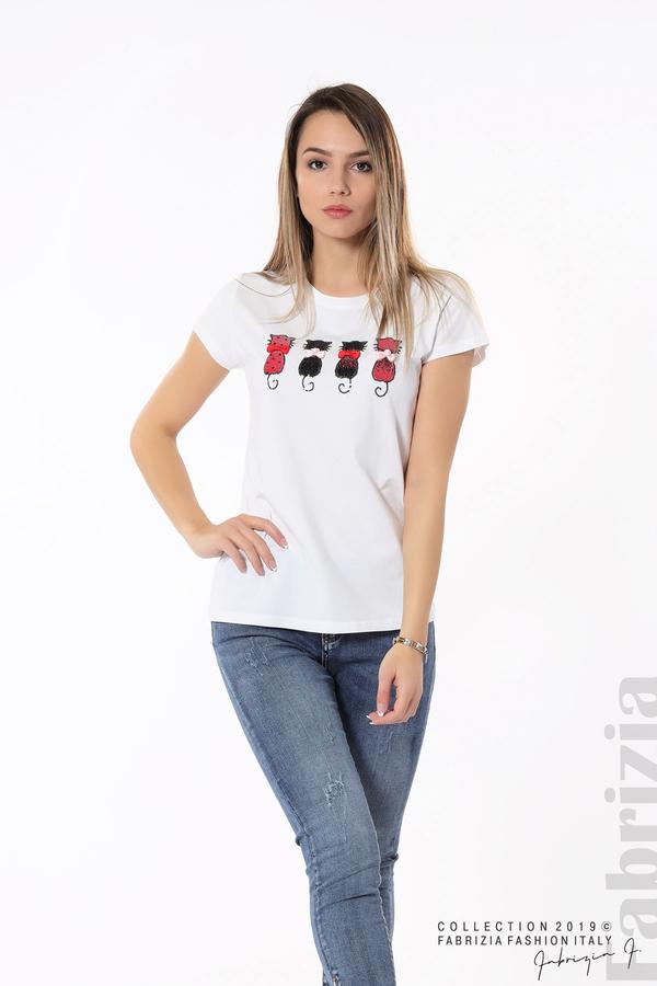 Дамска блуза с котки от пайети бял 5 fabrizia