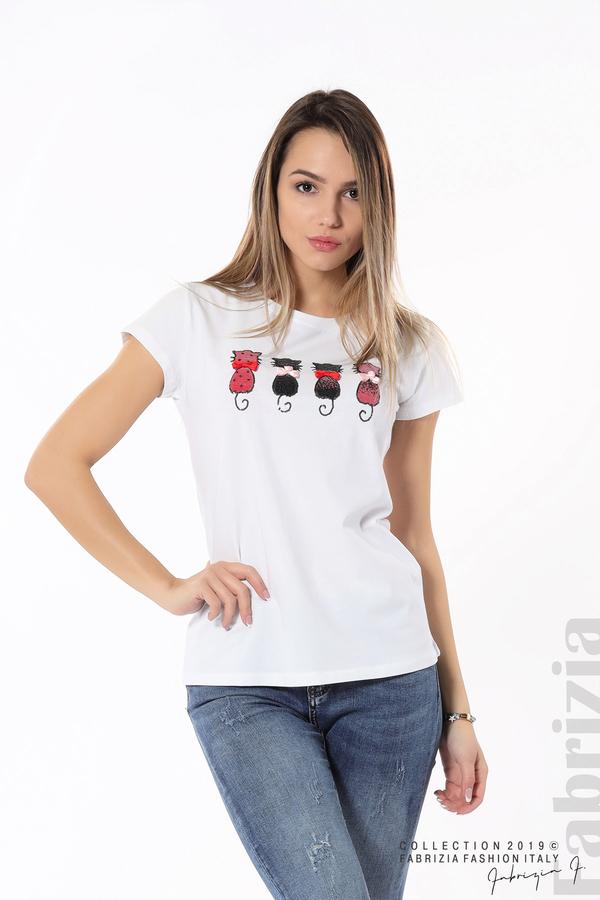 Дамска блуза с котки от пайети бял 1 fabrizia