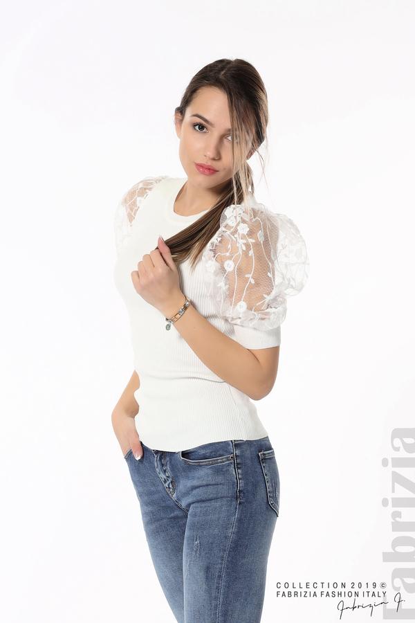 Рипсена блуза с дантелен ръкав бял 1 fabrizia