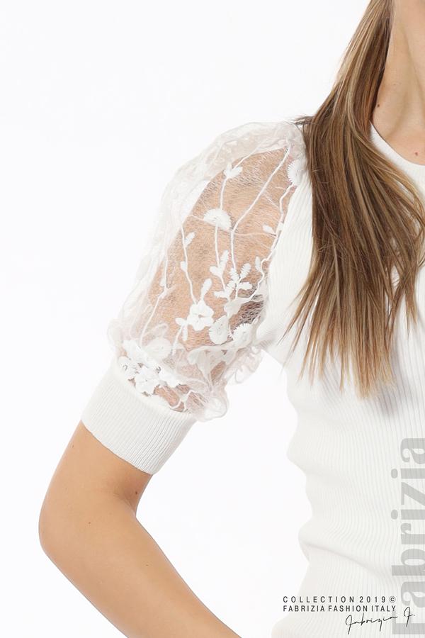 Рипсена блуза с дантелен ръкав бял 5 fabrizia