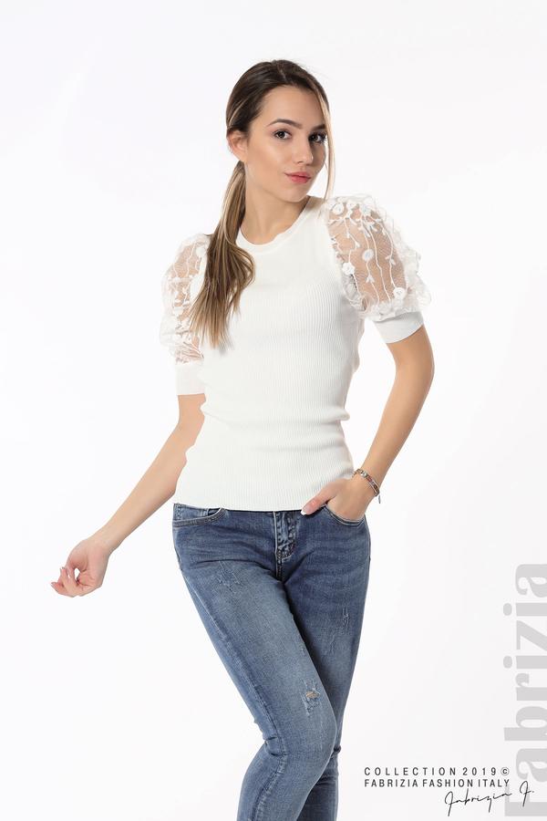 Рипсена блуза с дантелен ръкав бял 4 fabrizia