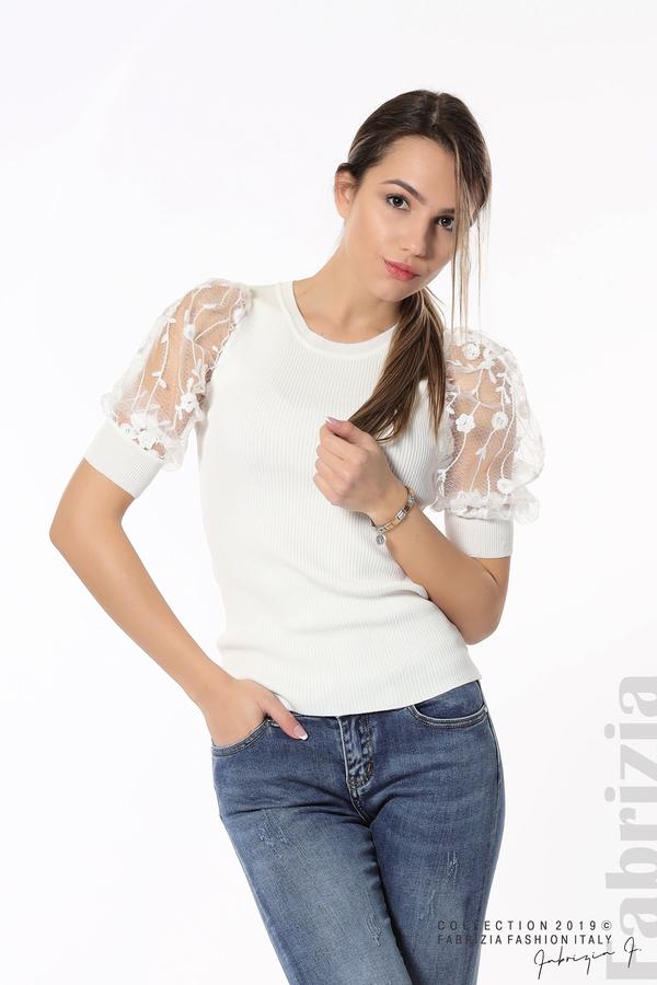 Рипсена блуза с дантелен ръкав бял 3 fabrizia