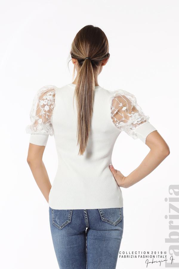 Рипсена блуза с дантелен ръкав бял 6 fabrizia
