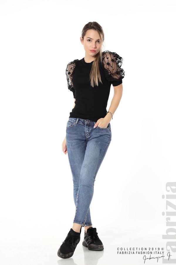 Рипсена блуза с дантелен ръкав черен 3 fabrizia