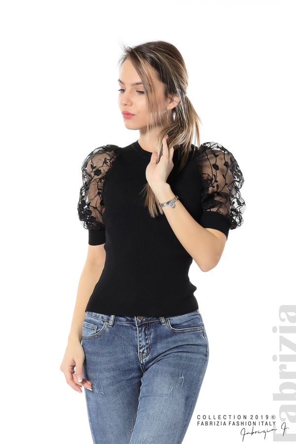 Рипсена блуза с дантелен ръкав черен 1 fabrizia