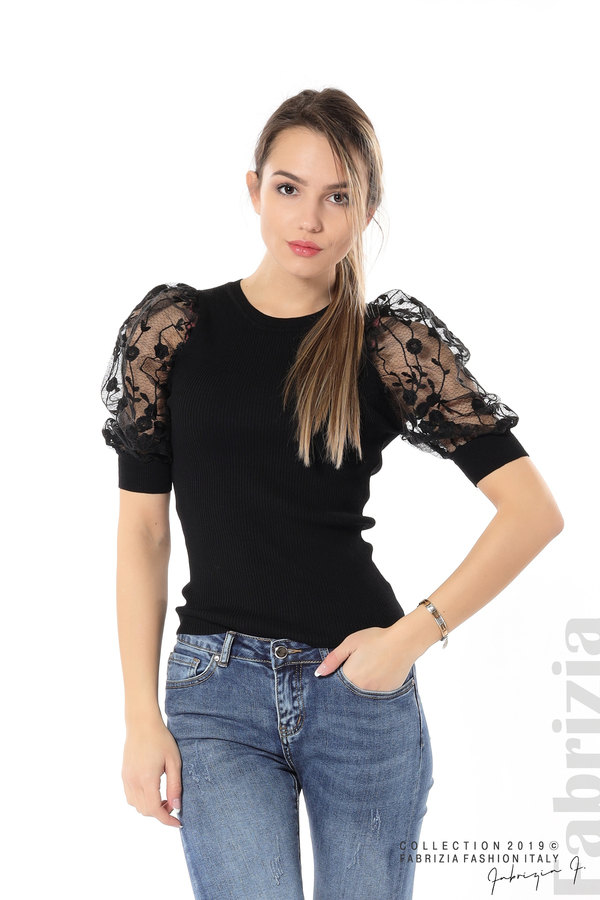 Рипсена блуза с дантелен ръкав черен 2 fabrizia