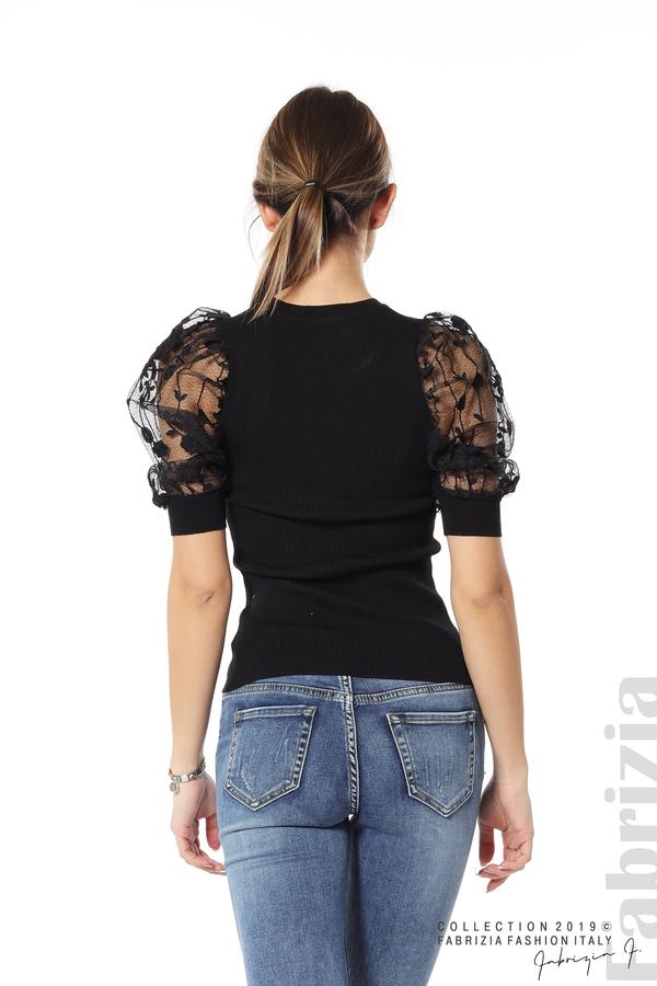 Рипсена блуза с дантелен ръкав черен 6 fabrizia