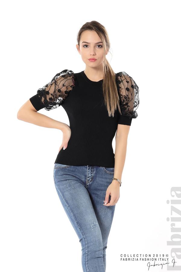 Рипсена блуза с дантелен ръкав черен 5 fabrizia