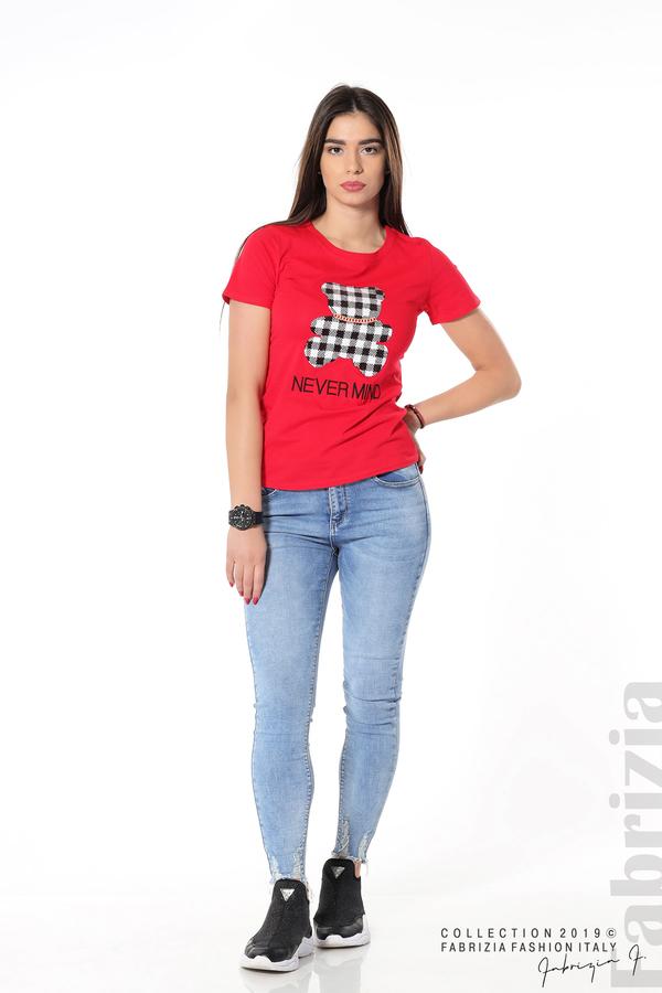 Блуза с мече от пайети червен 3 fabrizia