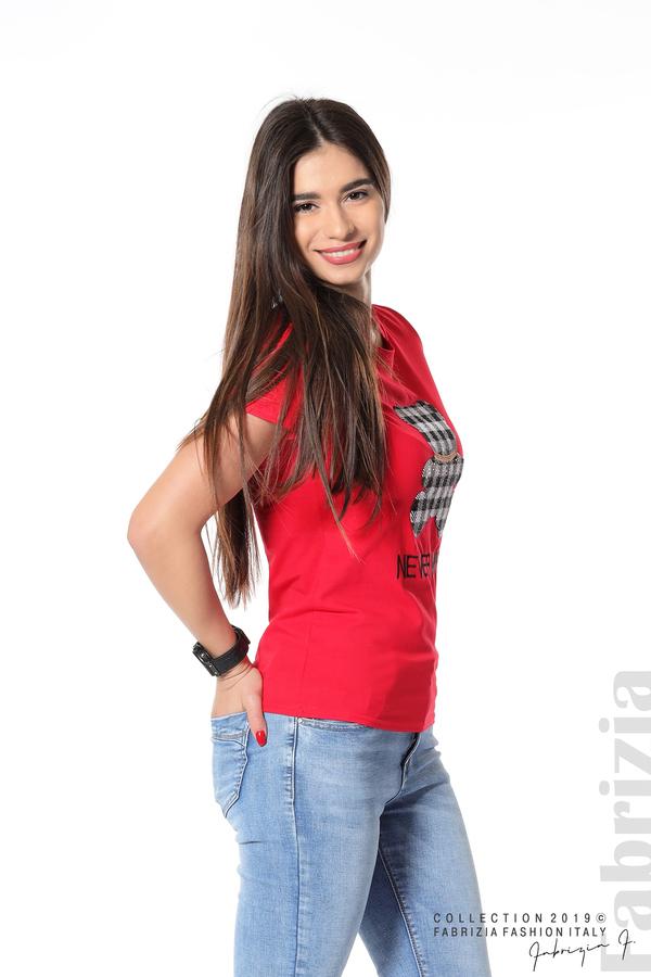 Блуза с мече от пайети червен 1 fabrizia