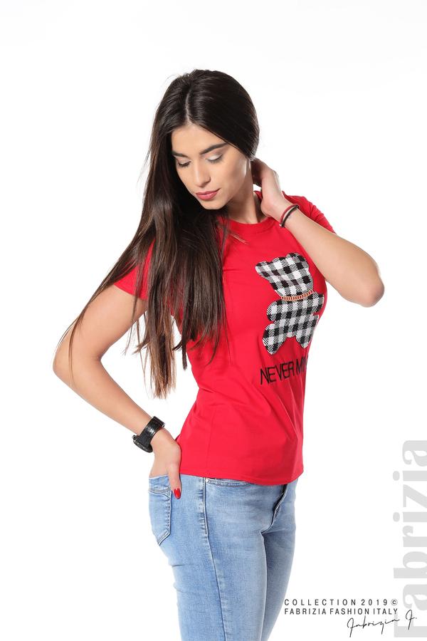 Блуза с мече от пайети червен 5 fabrizia