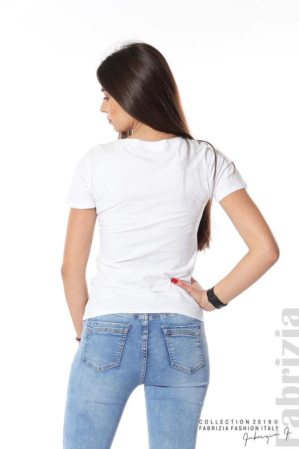 Блуза с мече от пайети бял 6 fabrizia