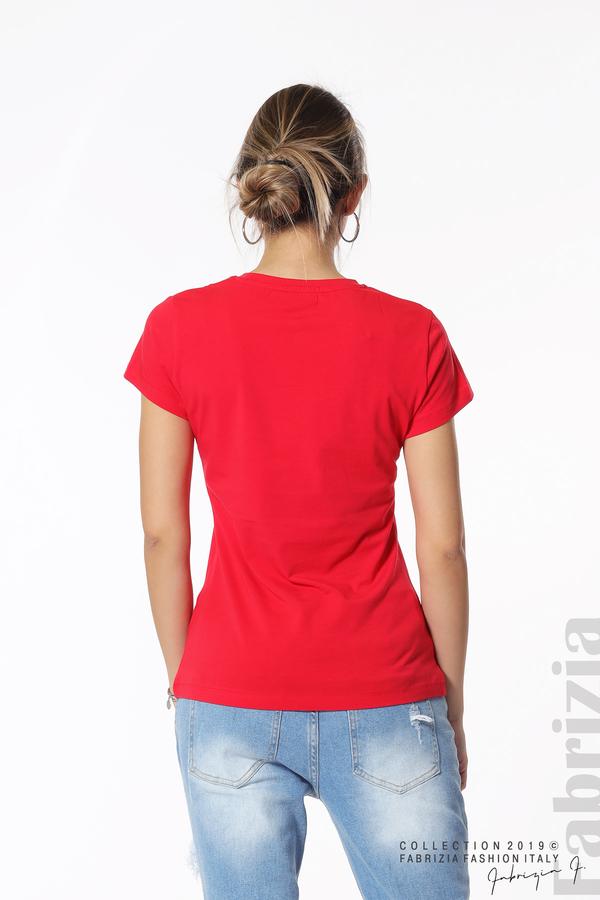 Блуза с надпис и камъни в рамка червен 5 fabrizia