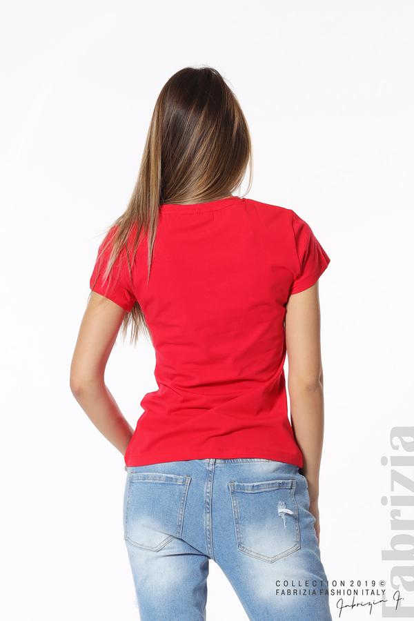 Блуза с надпис и камъни в рамка червен 6 fabrizia