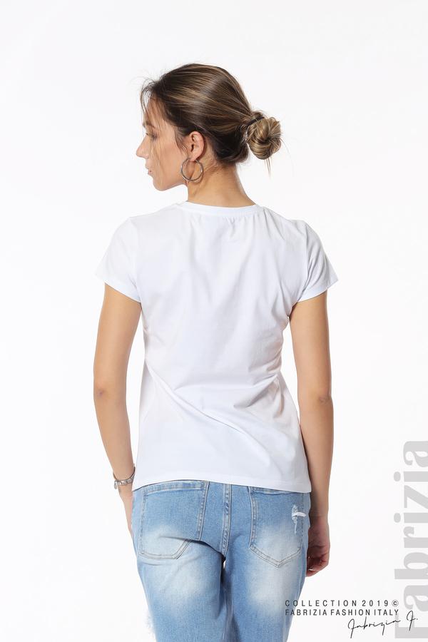 Блуза с надпис и камъни в рамка бял 5 fabrizia