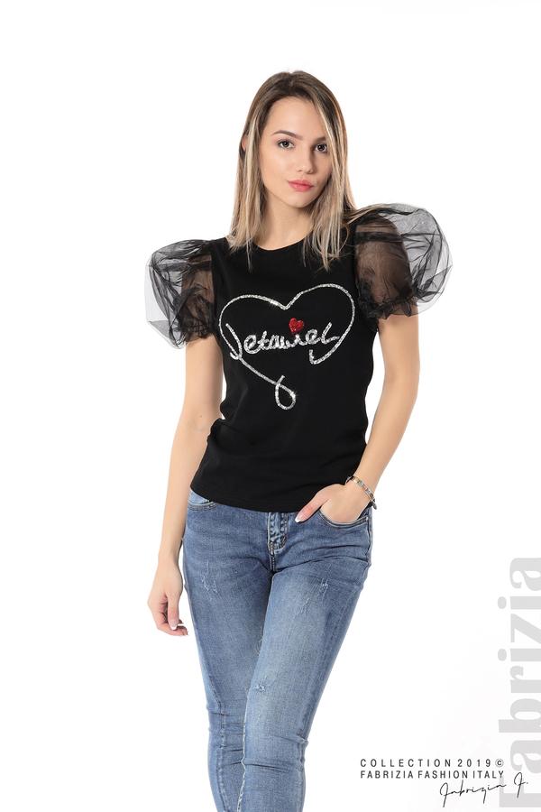 Блуза със сърце от пайети черен 2 fabrizia