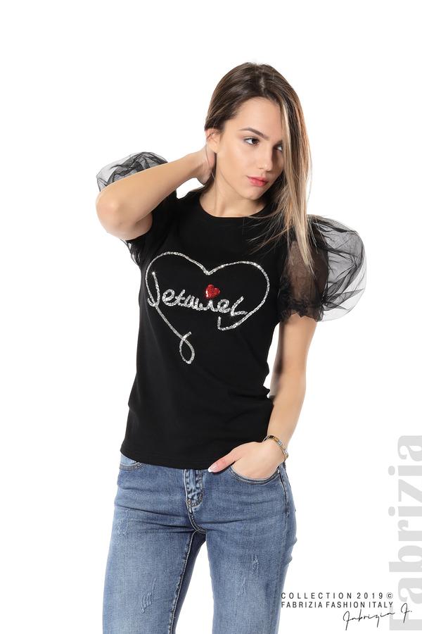 Блуза със сърце от пайети черен 4 fabrizia
