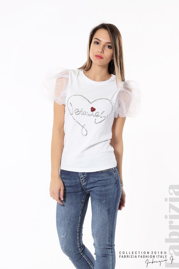 Блуза със сърце от пайети бял 2 fabrizia